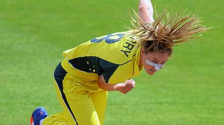 Ellyse Perry of Australia bowls during the ICC Women's World Cup.