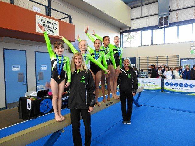 Level three team Gemma Ray, coach Julie Wales, Sienna Taylor, Charli Mc Vey, Lily Van Der Walt and coach Lisa Owen.