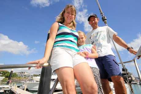 Annabell, Sasha and Matt Stewart on board the 50ft ketch Iron Will.