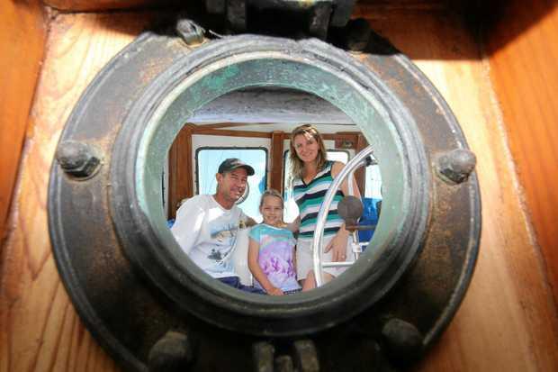 Matt, Annabell and Sasha Stewart prepare to set sail on the 50ft ketch Iron Will.