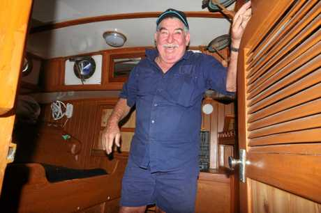 Matt Stewart's father Paul aboard Iron Will making repairs.