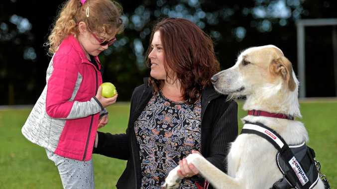 NEW LIFE: Rescue dog Amore has been handed over to Julie (mum) and Erin Turner as an assistance dog.