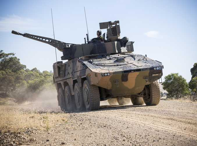 A Rheinmetall Boxer CRV drives off of the Armoured Fighting Vehicle Field Firing Training Area at Puckapunyal Range, Victoria, while participating in the Land 400 Risk Mitigation Activity on 22 February 2017. Pic: CPL Sebastian Beurich/DEFENCE DEPARTMENT