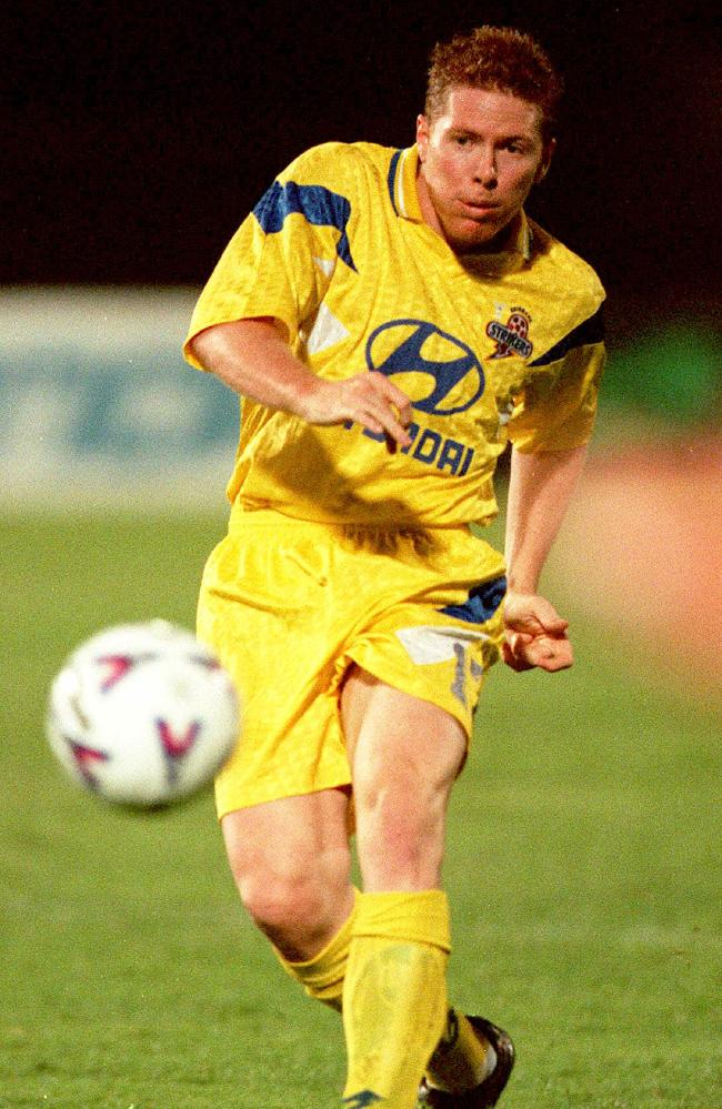 Jeromy Lee Harris in action for Brisbane Strikers in 1999.