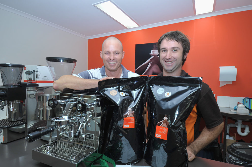 Sexie Coffee owner Jason Barrie and roaster Nick Stevens. Photo: Nat Bromhead / Fraser Coast Chronicle