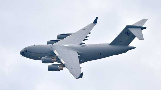 An RAAF C-17A Globemaster does a fly over Cotton Tree (file photo).
