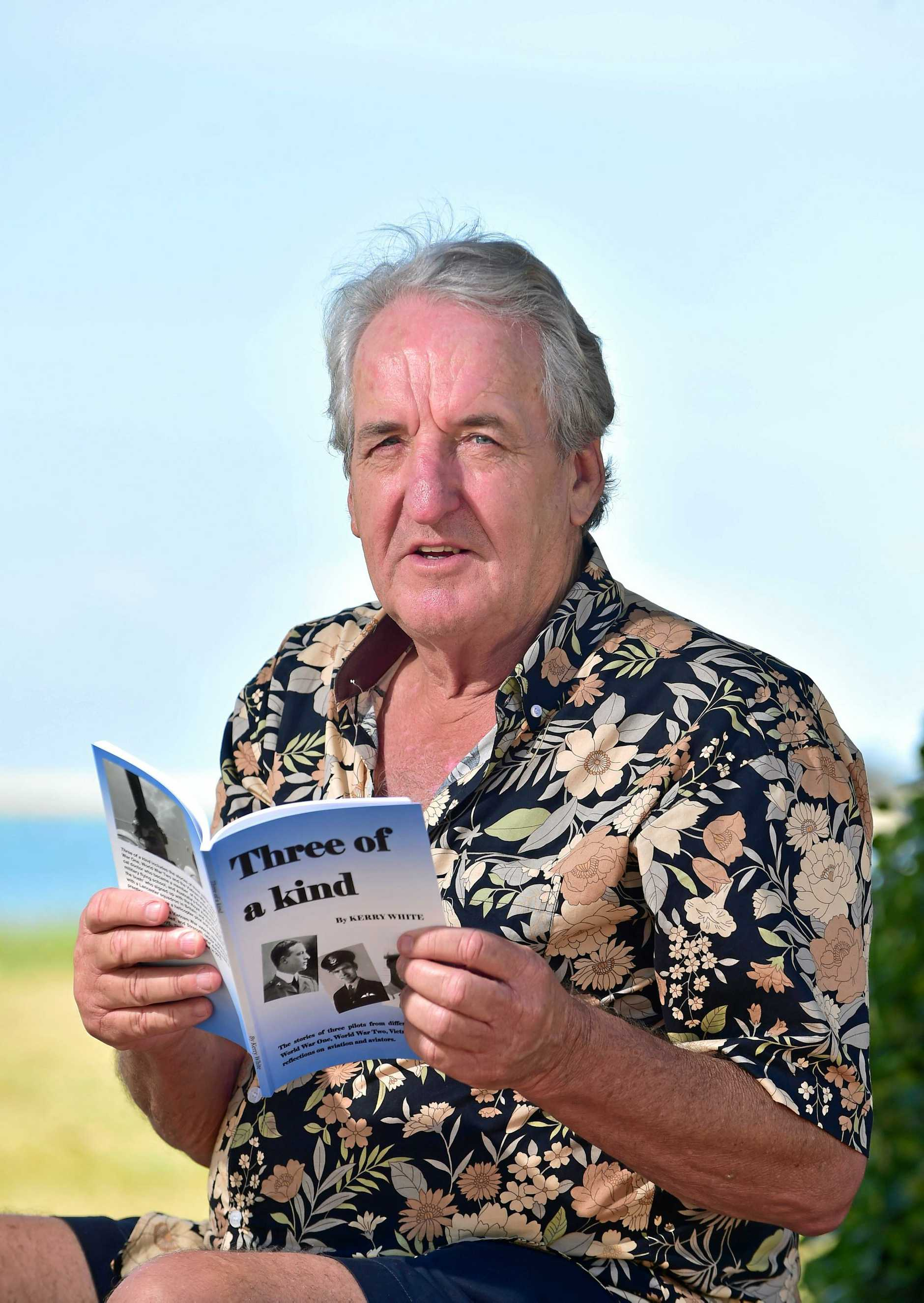 Kerry White has written his third book about three military pilots. Photo: Che Chapman / Sunshine Coast Daily