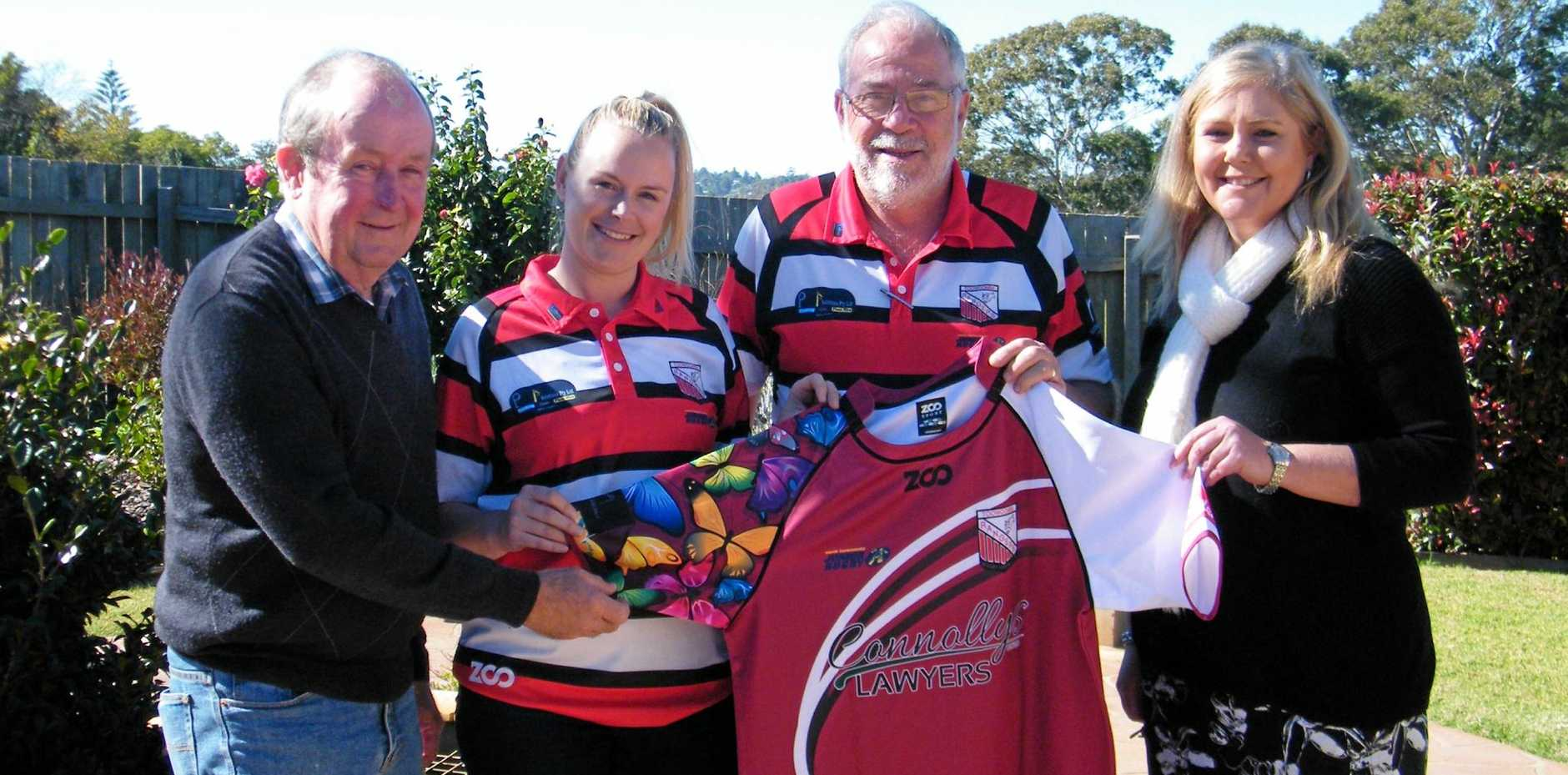 TACKLING FUNDRAISING: Toowoomba Hospice chairman Graham Barron OAM, Ladies' Day organiser Teagan Killen, Toowoomba Rangers Rugby Club secretary Danny Wiedman, and event sponsor, Andrea Hohn, from Connolly's Lawyers with one of the specially designed player jerseys.