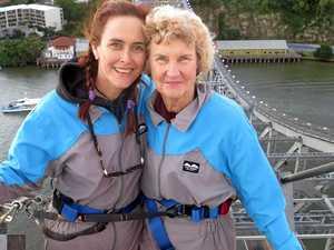BIRTHDAY BRIDGE: Daughter Marilyn accompanies Narelle Morris on a Story Bridge climb in Brisbane for her mums 80th birthday.