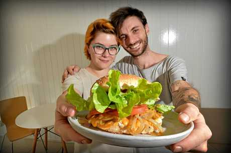 Wallea Eaglehawk and Alex Coolican from Delicats Vegan Cafe with their famous vege burger.