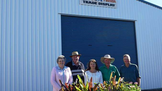 NEW HOME: Cheryl and ROb Parsons, with Frank Chiverton, Graham Bradford and Lesley Chiverton outside the new home of the Dalby Showgrounds Markets.