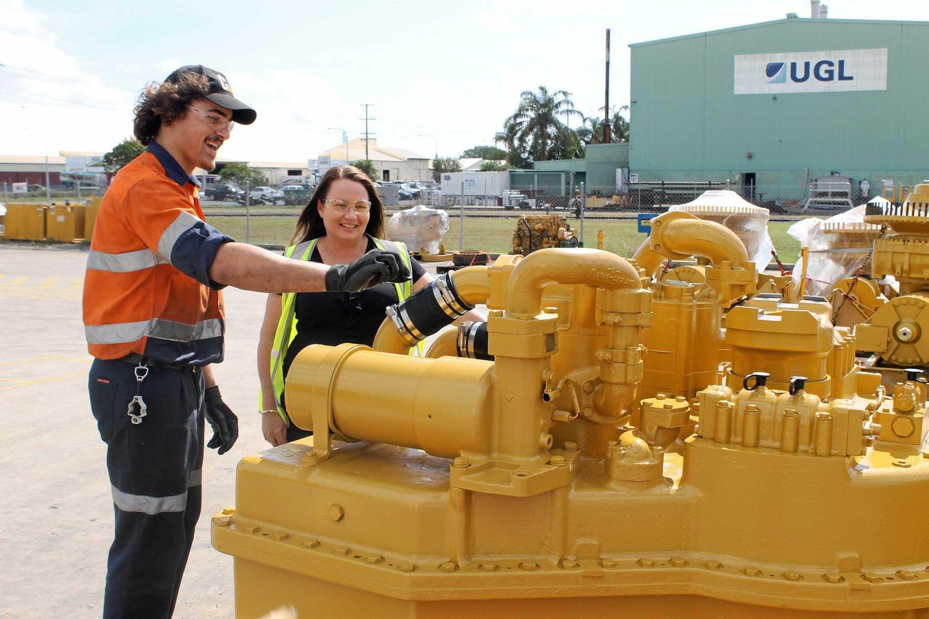 Diesel Fitter apprentice Will Lansbury with Hastings Deering Apprenticeships Coordinator Kristina Riemer.