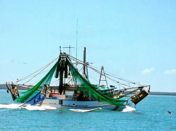 STAYING OUT: A local fishing trawler works Gladstone Harbour (file photo).