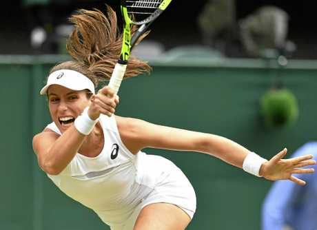 Johanna Konta of Britain hits a shot during against Venus Williams.