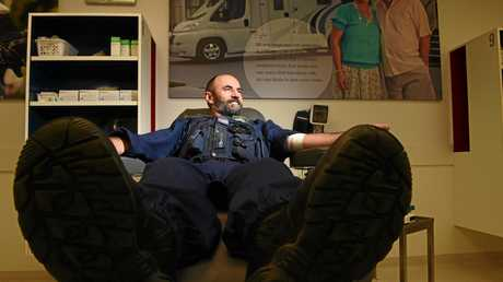 BLOODY GOOD: Lismore Police sergeant Tom Haydon in the Emergency Service Donation challenge at the Lismore Blood Bank.