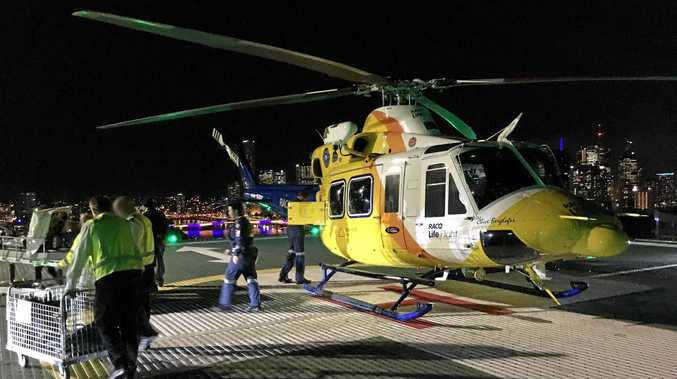 A boy was airlifted from Cherbourg after being hit in the head by an axe.