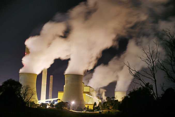 Stock image. Night time image Loy Yang of Power Station in the Latrobe Valley, Victoria. Monday, July 15. 2014. (AAP Image/David Crosling) NO ARCHIVING