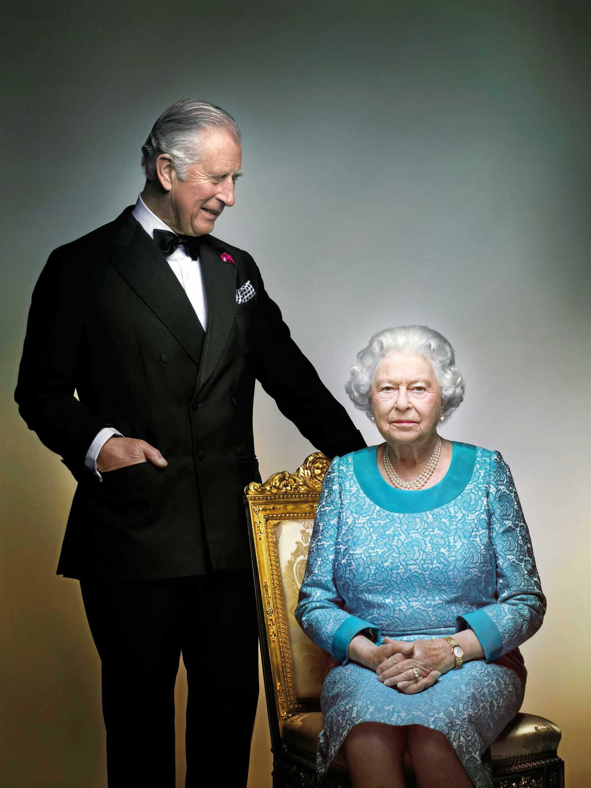 This photograph taken by Nick Knight is a portrait of Britain's Queen Elizabeth II and Prince Charles, taken in the White Drawing Room at Windsor Castle, England in May 2016, prior to the final night of The Queen's 90th Birthday Celebrations at the Royal Windsor Horse Pageant, to mark the end of the year of celebrations for The Queen's 90th birthday. (2016 Nick Knight)