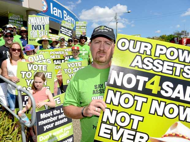 NOT US: The ETU's Stuart Traill, front, says the union did not fund the leaked ReachTEL poll.
