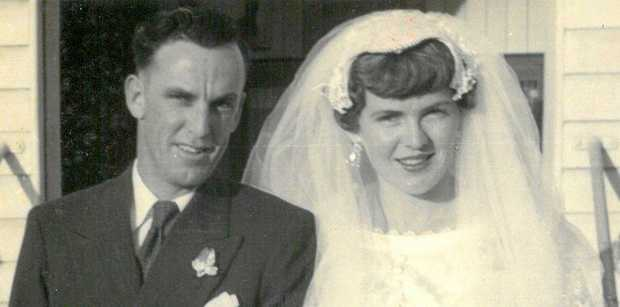START OF FOREVER: Des and Linda Arlott on their wedding day in 1957.