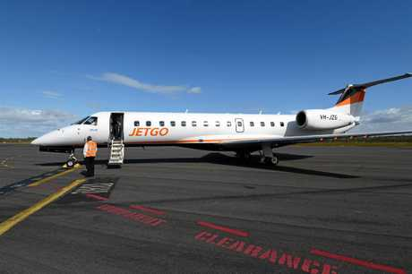 The first Jetgo plane arrives in Hervey Bay.