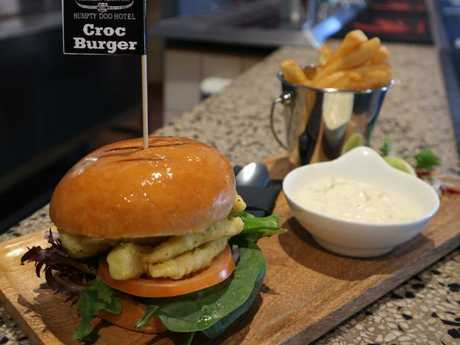 The Croc Burger Special at Humpty Doo Hotel in Humpty Doo.Source:Supplied
