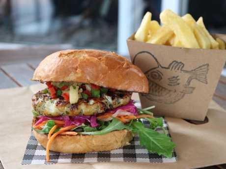The Smoked Barramundi Burger at Lanternfish in Port Douglas.Source:Supplied