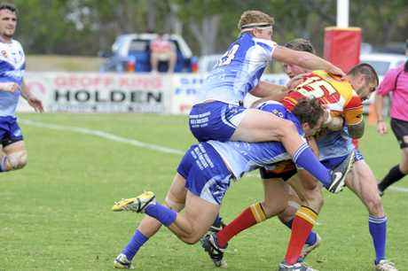 Rodeo-time as Ben McLennan holds on for dear life to bring Comets' Josh Fox down just sort of the try line during the Coffs Harbour Comets and Grafton Ghosts Group 2 preliminary final at Geoff King Motors Oval.