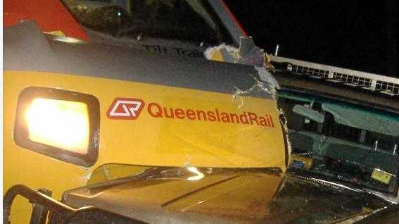 FILE PHOTO: A Queensland Rail Tilt Train also collided with a utility at the intersection of Denison and William street in Rockhampton in February 2012.