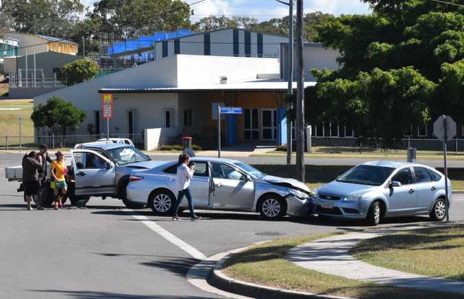 Three-car collision at corner of Tank and Scenery Street