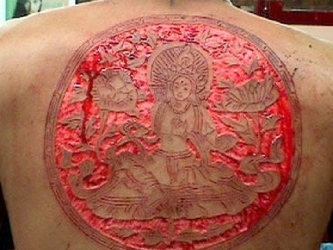 While you might not be able to get the same detail as a tattoo, scarification can be intricate. Source:Supplied