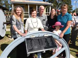 Miners memorial unveiled at this years Burrum Coalfest - June Cooke (2nd left) whose father James Wood and uncle William Wood were killed in mining accidents. Pictured with (L) niece Vicki Muller, husband Max Cooke, granddaughter Jodie Baker and her daughter Alexis and niece Glenda Perry.