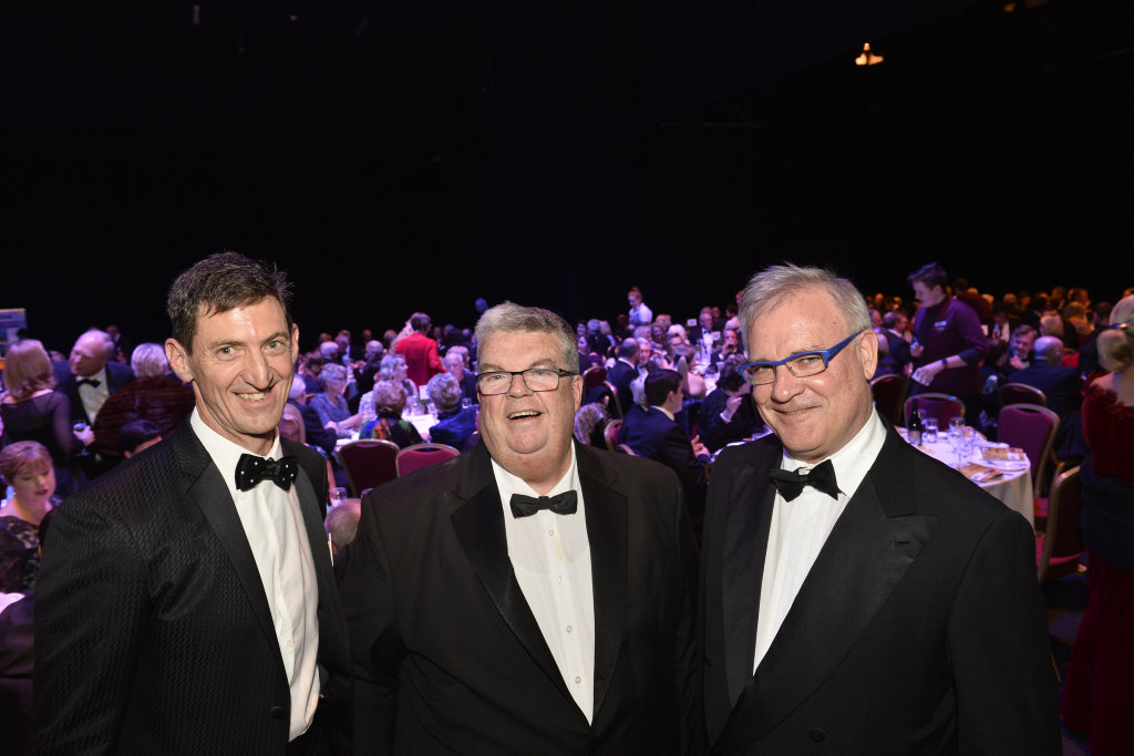 Raising funds for a worthy cause are (from left) Roger Grigg of Order of St John of Jerusalem Knights Hospitaller, Lifeline Darling Downs and South West chief executive Derek Tuffield and FKG Group executive chairman Gary Gardner at FKG Group Battling for Lifeline galla dinner hosted by the Order of St John of Jerusalem Knights Hospitaller at Empire Theatres, Saturday, July 15, 2017.