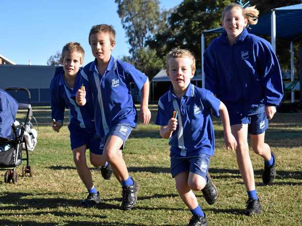 ANOTHER LAP: The students of Dalby State School having a great time running laps on Thursday mornings.