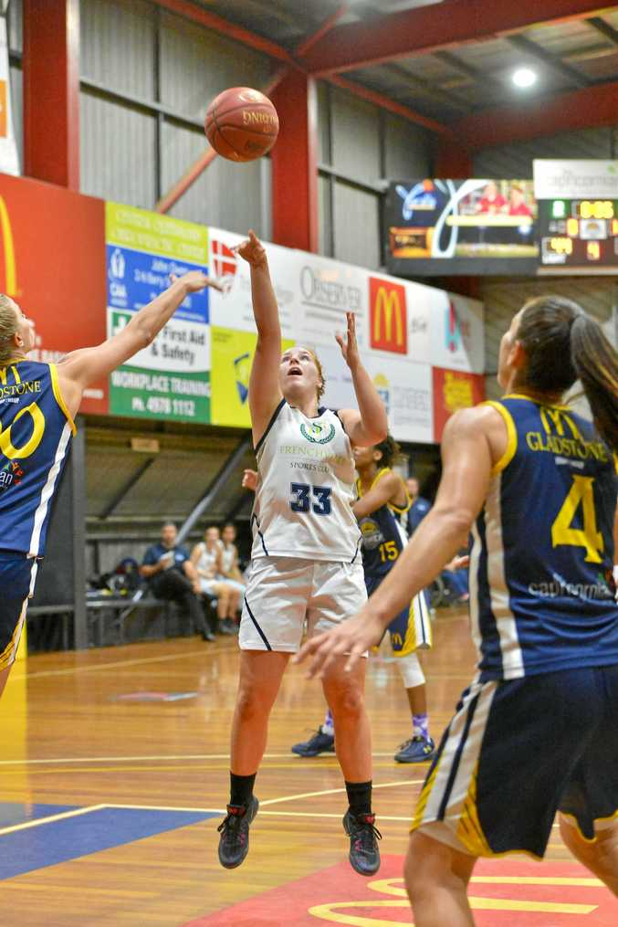 Cyclones' Briana Bailey takes a shot in the game against the Port City Power in Gladstone.
