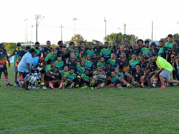 The Mackay and Rockhampton Australian South Sea Islander teams who competed in the inaugural Kanaka Proud Cup.