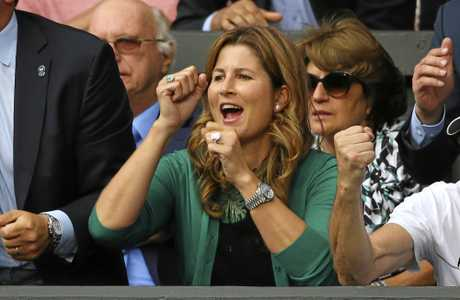 Mirka, the wife of Roger Federer, celebrates during his semi-final win over Tomas Berdych.