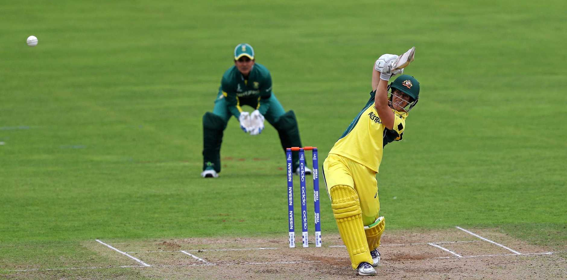 Nicole Bolton hits out for Australia during the Women's World Cup match against South Africa.