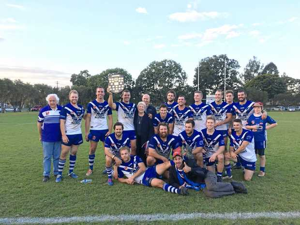 WINNERS: The Grafton Ghosts celebrate reclaiming the Clem Rankin Shield after defeating Coffs Harbour Comets 28-12.