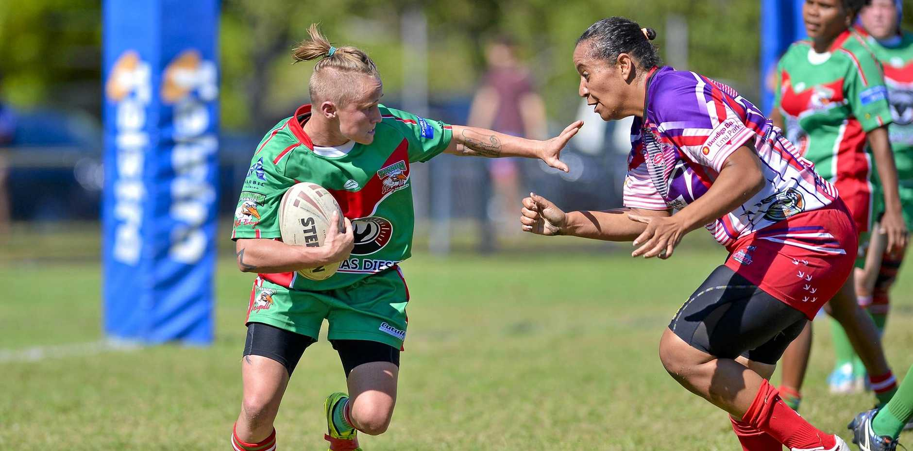 TOUGH: Tannum Sands Seagals player Krystal Sulter fends off Emu Park's Charlene Mann during their finals loss at the weekend. The Seagals will play Wallabys next weekend.