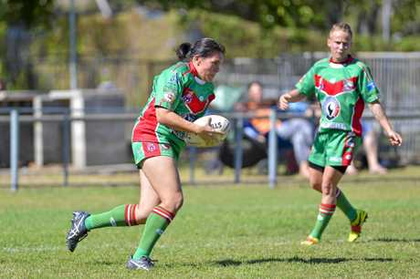 Seagals player Elle Hughs. Women's Rugby League between Emu Park and Tannum Seagals at Marley Brown.