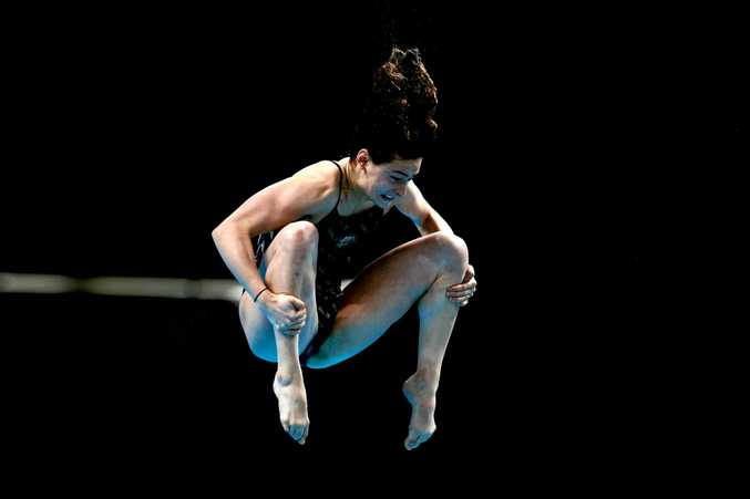Australian diver Maddison Keeney on her way to winning the 1m springboard final at the World Championships in Budapest.