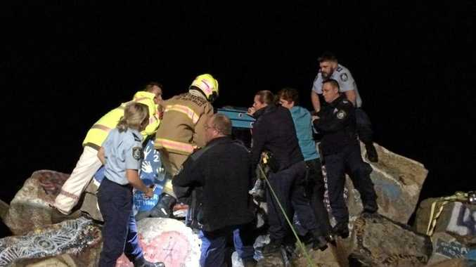 Police, NSW Ambulance, NSW Fire and Rescue, Volunteer Rescue Association and two SES units combined to rescue a rock angler who fell between rocks at the V-Wall at Nambucca Heads.