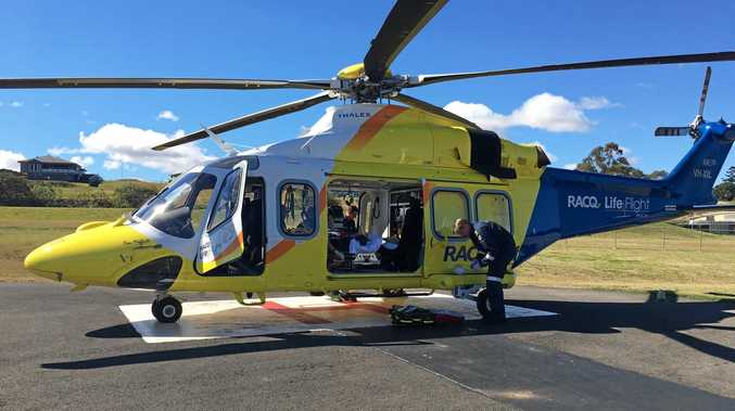 A boy was airlifted from Kingaroy Hospital after colliding with his brother.