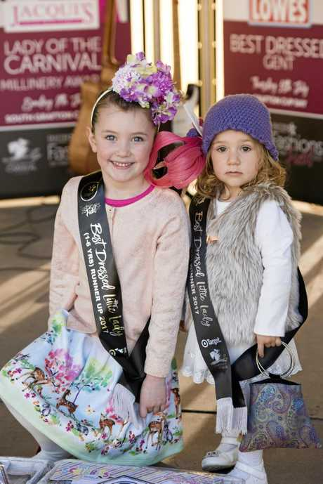 Kids fashion 1-6 girls runner up Makybe Sinclair, left, and winner Catalina Venneri on Maclean Cup Day.