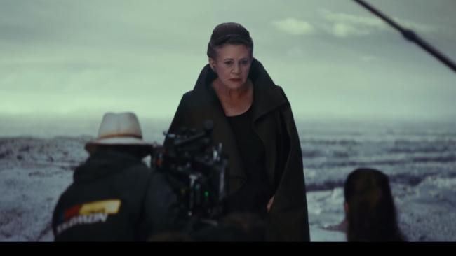 Carrie Fisher in the new promo for Star Wars.