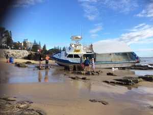 Boat washed up at Mooloolaba