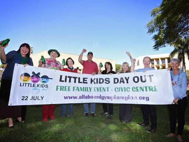 Kim Walters, Sheila Kath, Barb Yule, Bob Leitch, Deb McCarthy, Jane Gunn, Luke Harriman and Marion Sillett ready for this year's Little Kids Day Out.