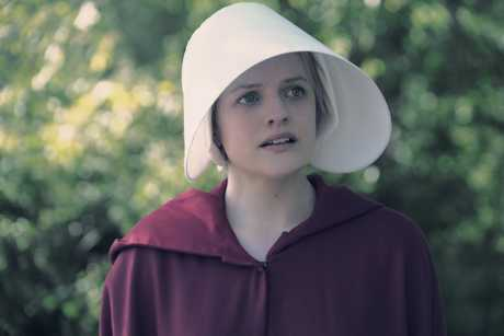 Elisabeth Moss in a scene from the TV series The Handmaid's Tale.