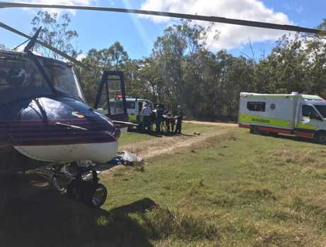 RACQ Capricorn Helicopter Rescue Service has airlifted one person from a crash north of Rocky.